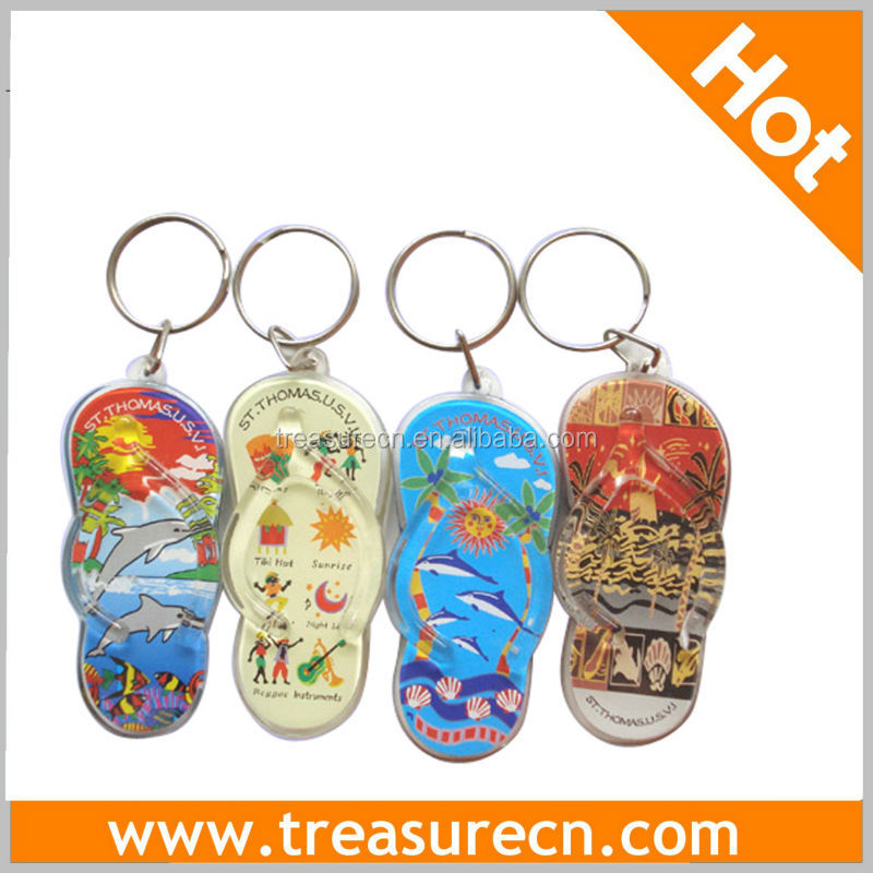 Fancy Slipper Acrylic Key Ring For Souvenir