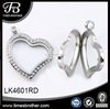 2016 New Products Jewelry New design heart shape floating locket with chains TB-LK4601RD