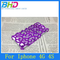 Diamond bling Palace style flower hollow out electroplating PC case for iphone 4 4s