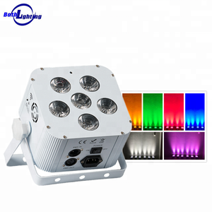 Night club decor Cube 6 leds x 18W rgbwauv slim par can light stage rechargeable led uplight