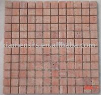 China tumbled stone red travertine mosaic tile