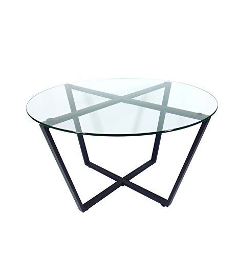Made in China metal type living room furniture round shape glass top table with folding metal frames