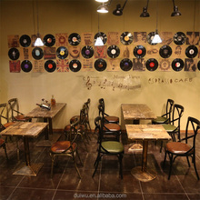 Fast food custom design furniture starbucks wrought iron tables and chairs