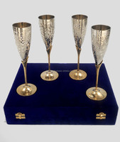 Silver Plated Brass Goblet , Goblets Set of 4 pcs in Velvet Box , Brass Goblet