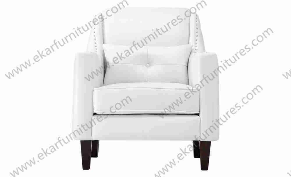 Cheap living room white leather designs of single seater sofa / white couch