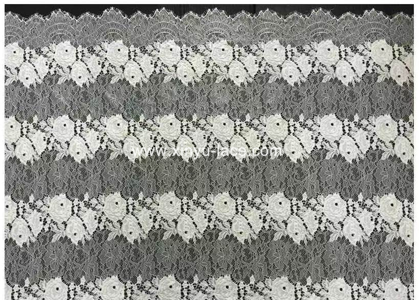 hantilly lace fabric floral 1.5 meter white bridal eyelash lace fabric