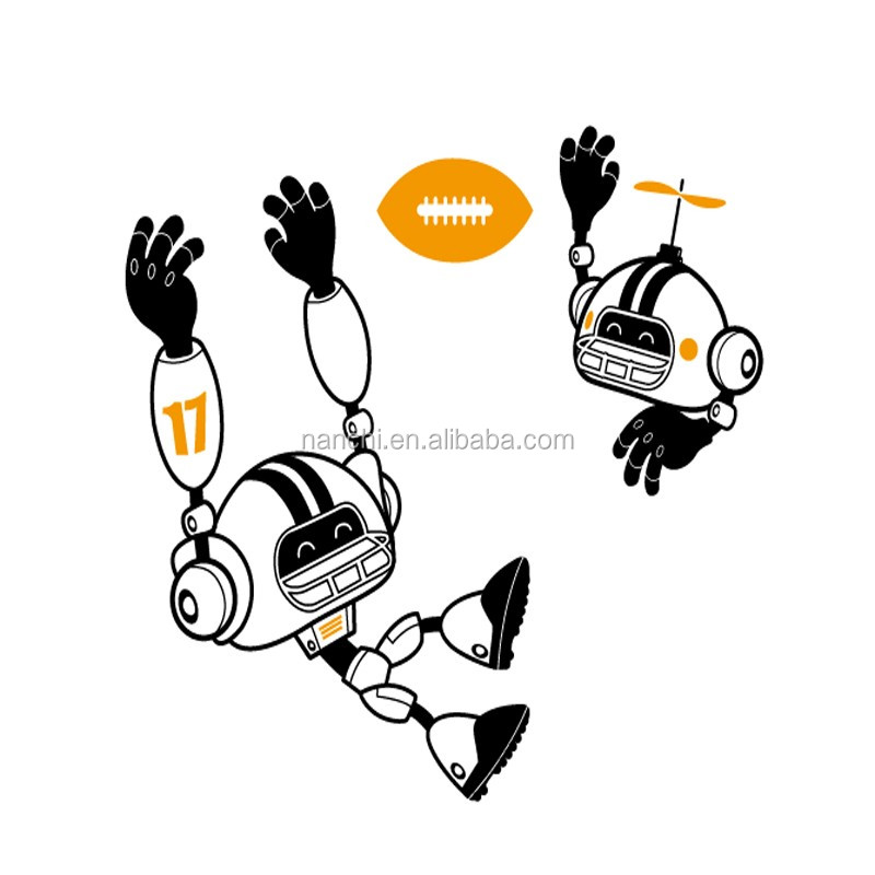 Rugby Cartoon Robots Wall Sticker Top Fashion Diy Stickers Boy's Room Kids Home Decor Removable Waterproof Vinyl Decals