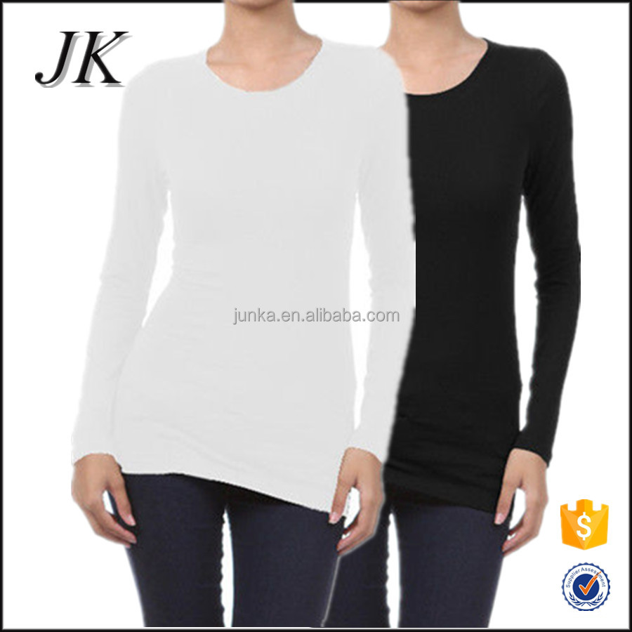 Custom Made Women Blank Tight Fit Scoop Neck Long Sleeve Longline T Shirt for Fitness Gym Wear