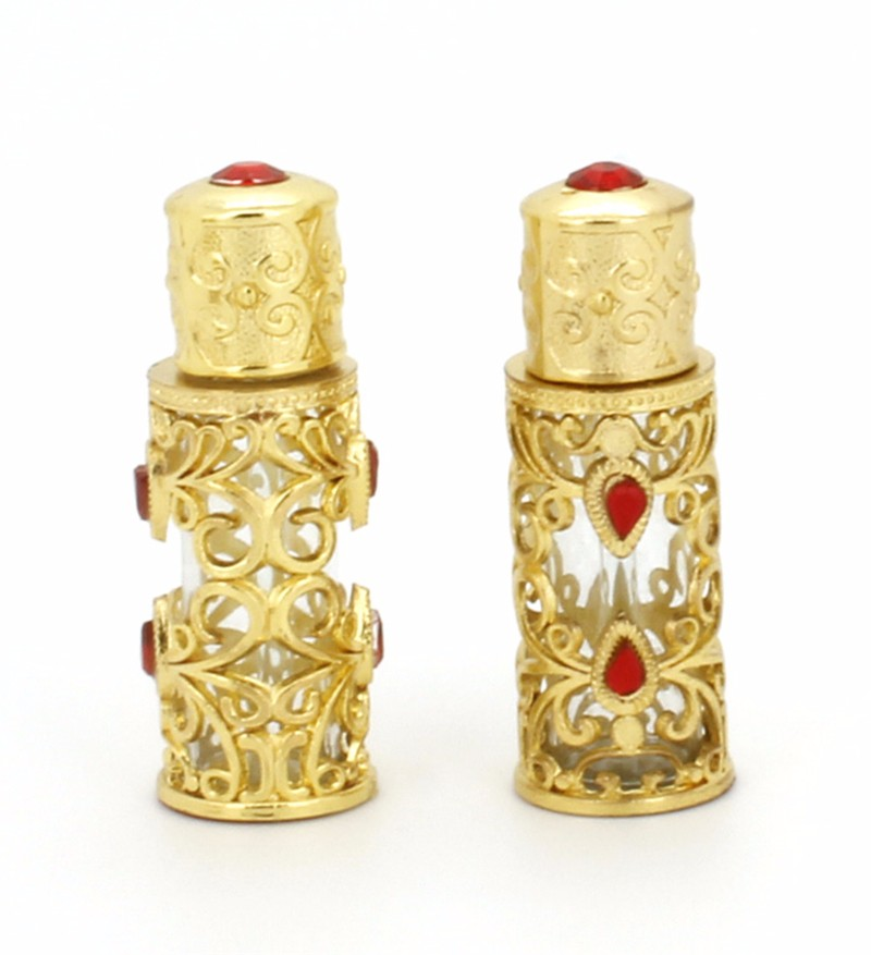 6ml Arabian Style golden color bottle of perfume with Metal and Beads Decorated Glass Stick Cap