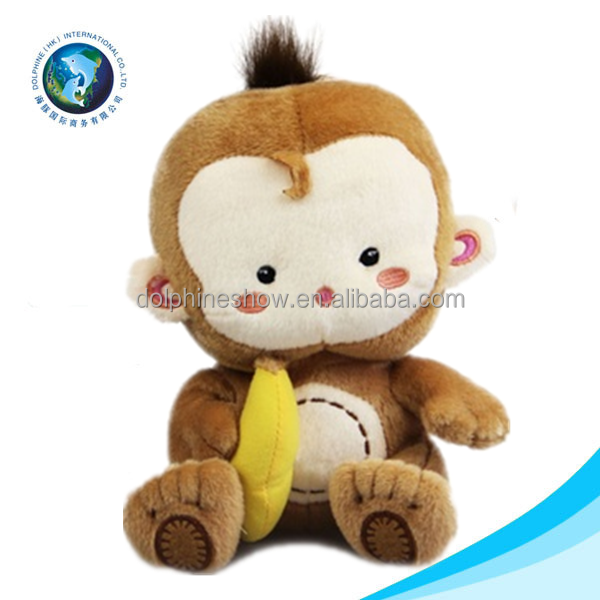 Wholesale fashion plush monkey names cute brown stuffed plush toy monkey with banana