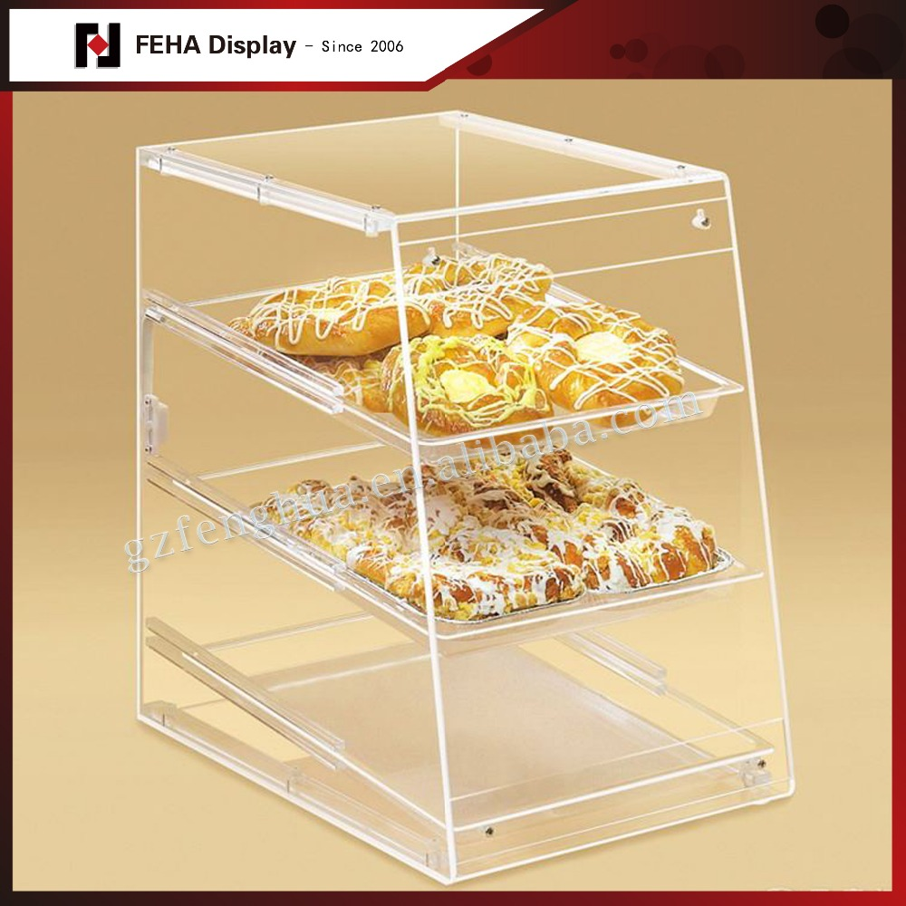 Bakery store acrylic food display stand for bread