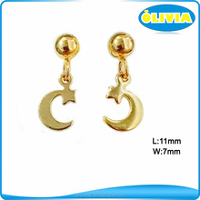 Olivia Stainless Steel 18k Gold Color Walmart Fashion Jewelry Moon And Star Earrings