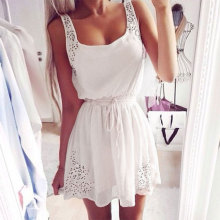 New Fashion Girls' Simple Crocheted Sleeveless Tank top Dresses