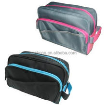 Polyester material Large Black Makeup Cosmetic Bag with compartments