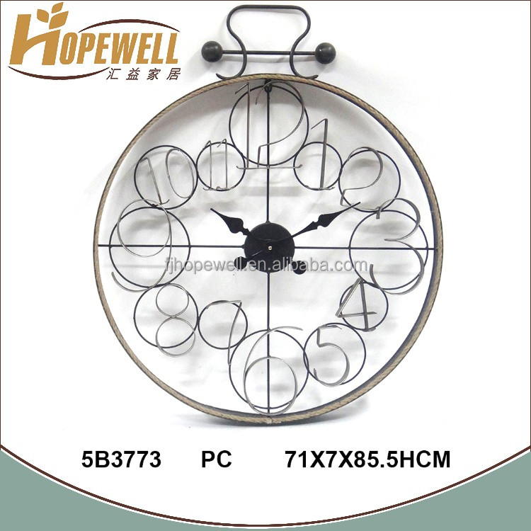 Chinese retro numbers circle round frame wall clock with metal