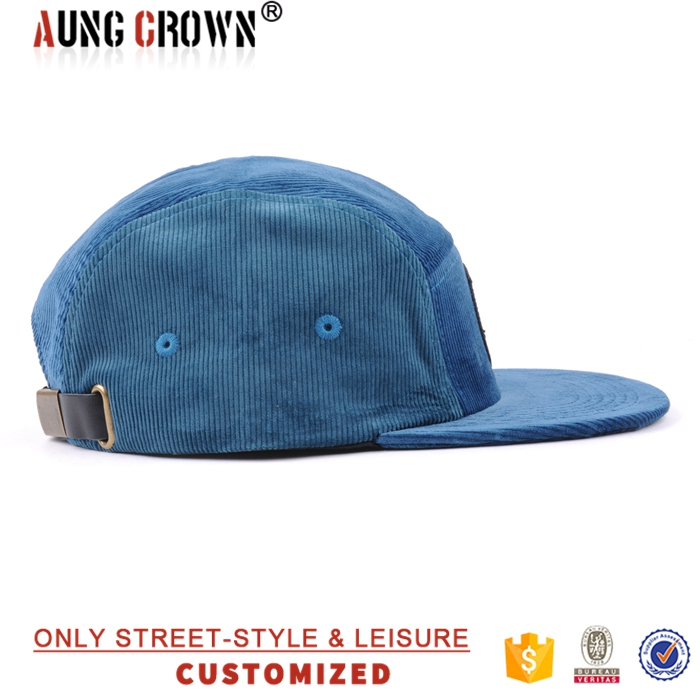 Design your own woven label corduroy 5 panel hat cap with leather back strap