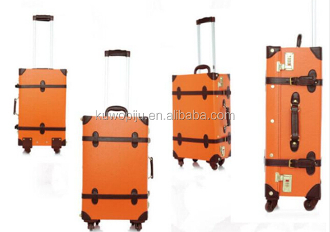 pu leather 2 pcs classic trolley trunk luggage