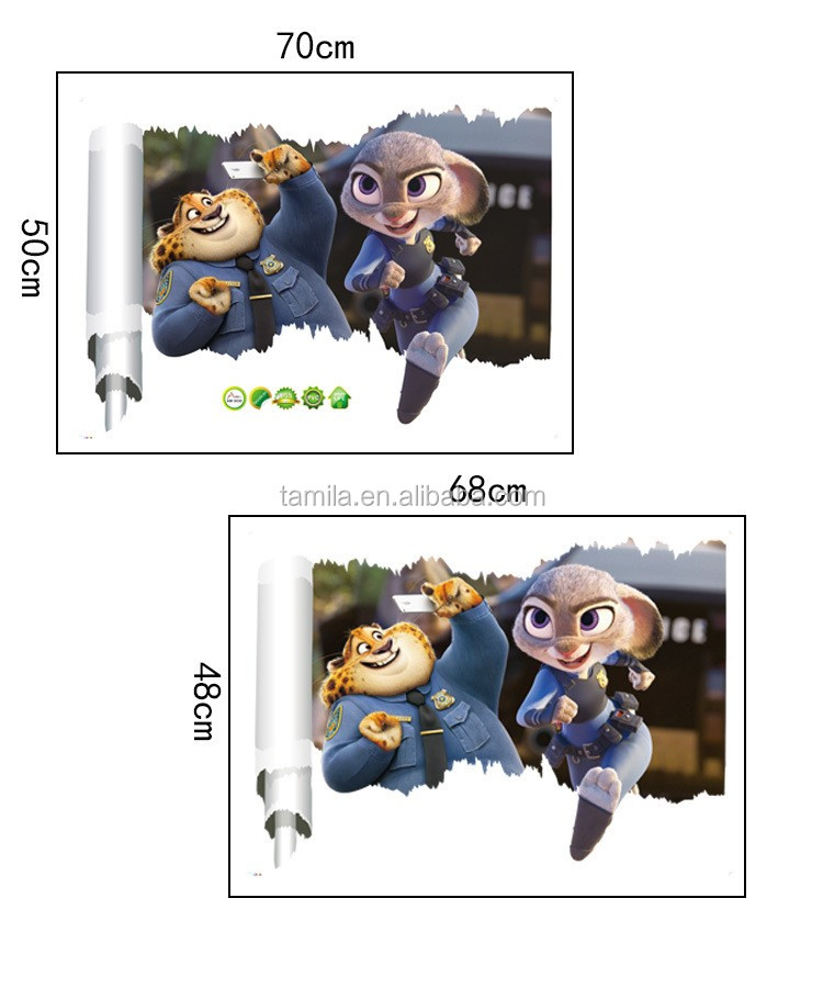 home decor wall stickers 3d pvc removable cartoon movie character Zootopia wall sticker decal for kids baby nursery room decor