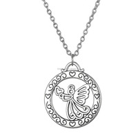 "Rhodium Plated ""Moms Are Angels In Disguise"" Reversible Angel Pendant Necklace"