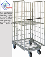 nesting wire folding roll cage with removed shelf heavy duty wheels 3 sides