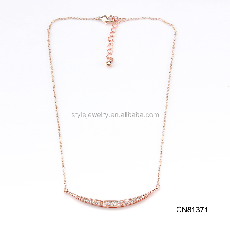 CN81371 New Fashion Statement Jewelry Rose Gold Plated Bone Chain Womens Necklaces