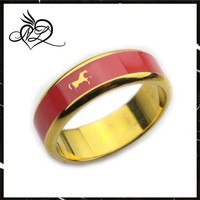 Stainless steel gold plated red enamel horse ring