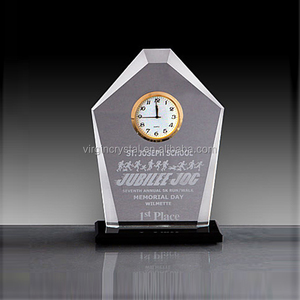 Diamond clear shape crystal desk clock personalized office gifts for men