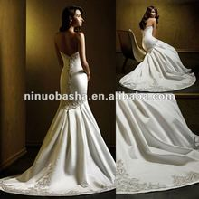 Silk satin metallic embroidery crystal beading wedding dress