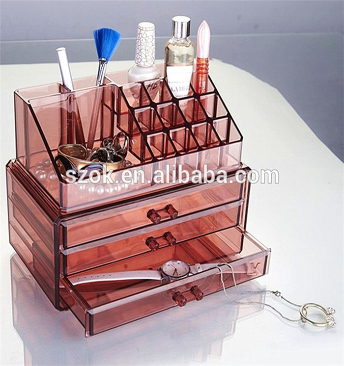 Low price luxury clear acrylic makeup organizer with drawers