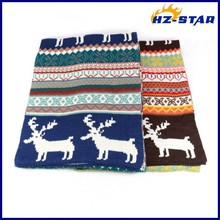 HZW-13736025 Hot Items Gifts blue jacquard stretch yiwu China new christmas tree deer thin knitted scarf