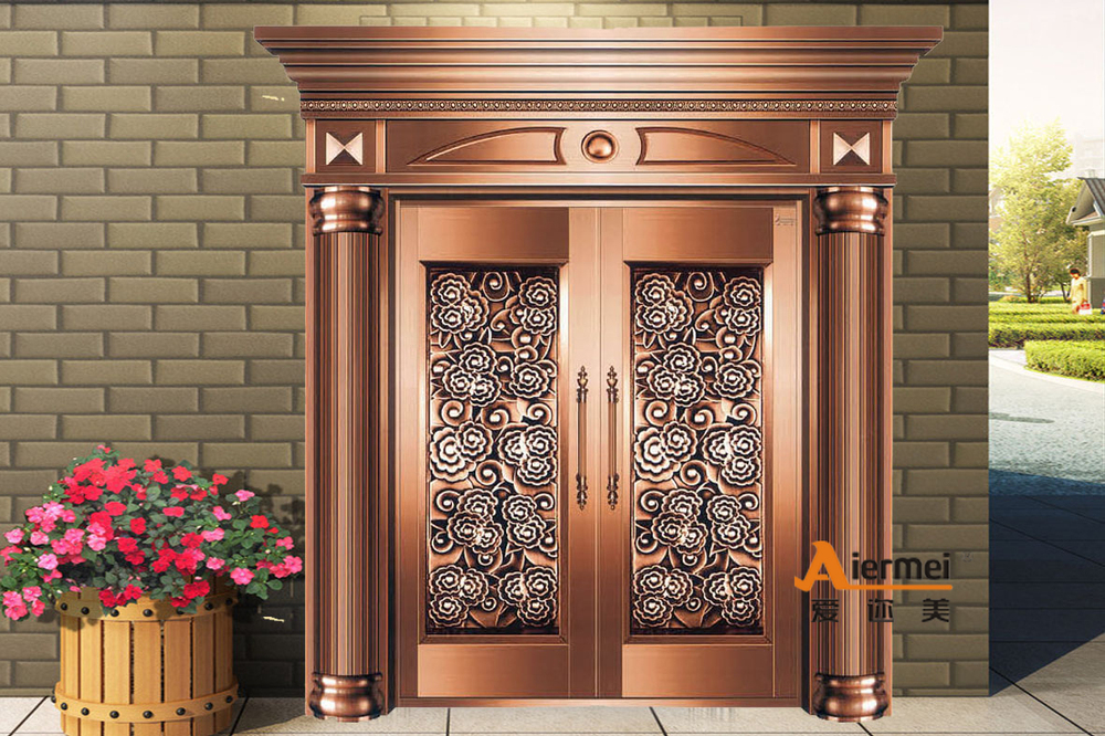 Front safety door design customized copper door house for Front door entrance designs for houses