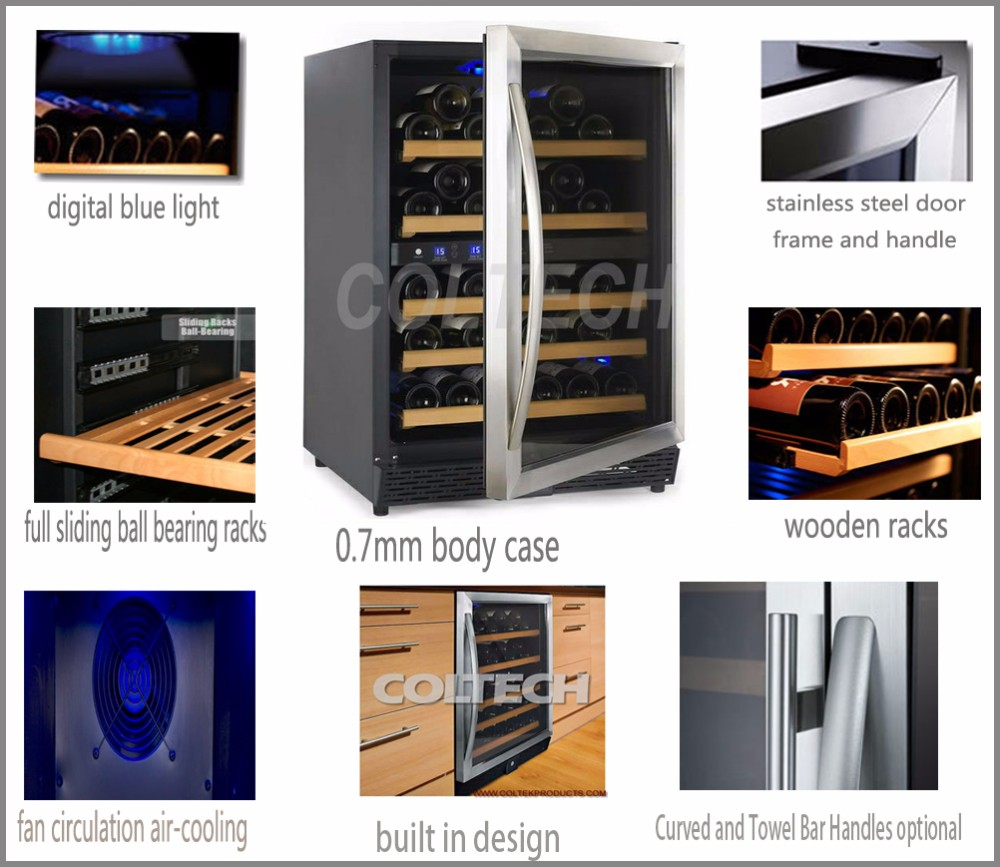 Single zone built-in mini led wine cooler refrigerator/wine refrigerator