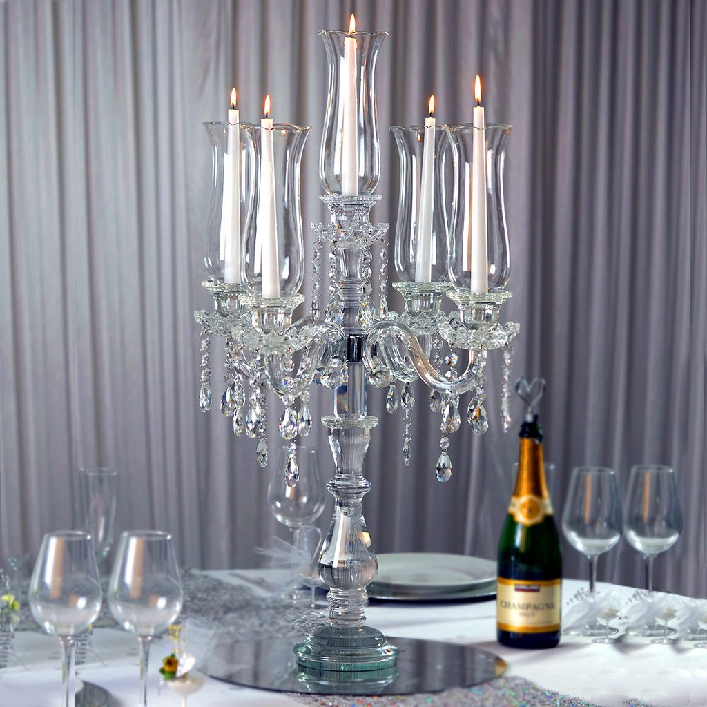 Pujiang wifi shape black base 6 candles candelabra crystal table candle holders for party/home decoration