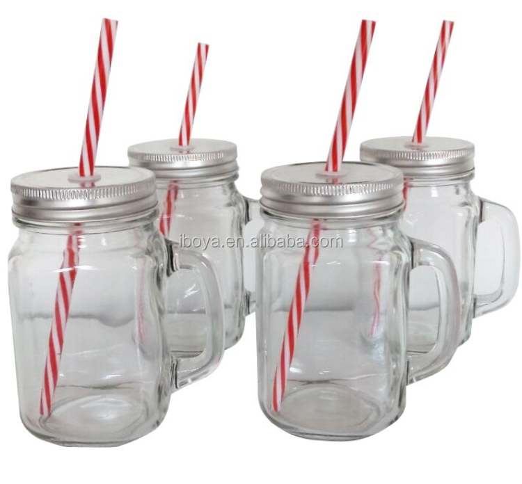 2016 New Fashion Good Price Glass Mason Jar With Handle 12 Oz
