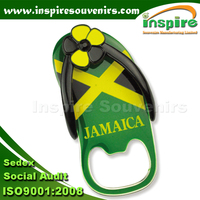 Slipper shoes from Jamaica bright nickel magnet with bottle opener