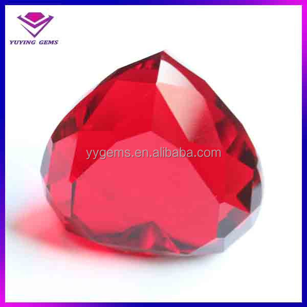 2015 new product double diamond cut decorative red heart glass gems stones