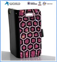 mobile phone luxury wallet stand diamond case bling leather case