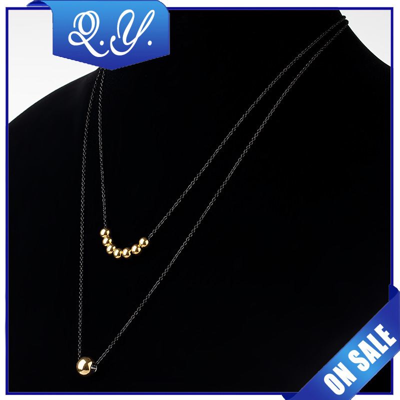 High quality black long chain necklace gold plated round bead pendant