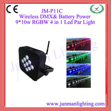 9pcs 10W RGBW DMX Wireless Battery Power Led Par Light Led Par64