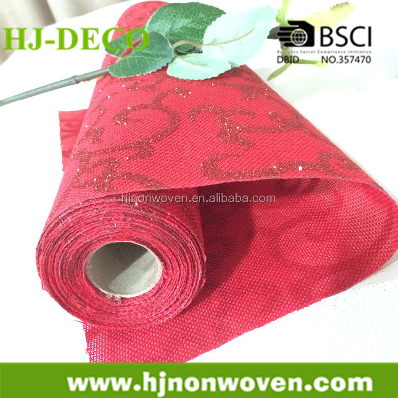 red glittering artificial jute for festival table runner