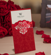 Customize Red Hollow Damask India wedding invitation card new pocket design Laser Cut Cover greeting card