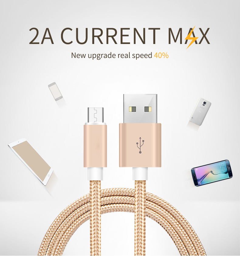 2018 Amazon 2M Colorful Best Price Seller  Manufacturers Nylon Braided Micro USB Cable for Android