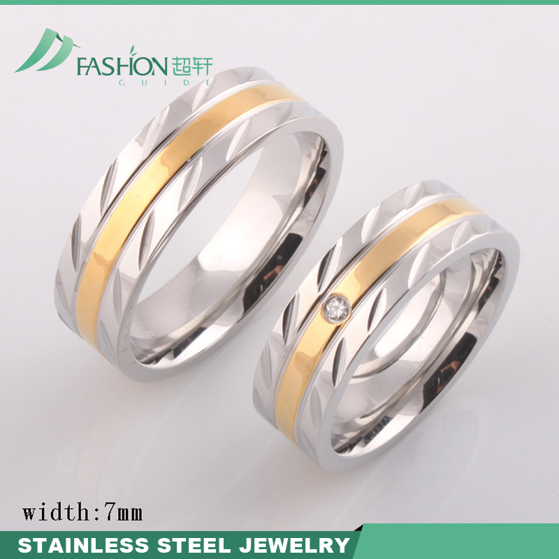 IP Gold Plated Stainless Steel Wedding Ring With Ziron Inlayed