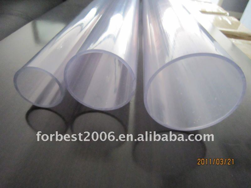 Transparent hard PVC 110mm pipes,4mm thickness