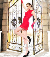 L1345 Fashion Real Photo Bateau Lace Short Evening Dress 2013