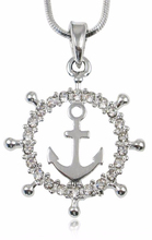 Silver Plating Ship Captain Wheel With Anchor Nautical Pendant Necklace Fashion Jewelry