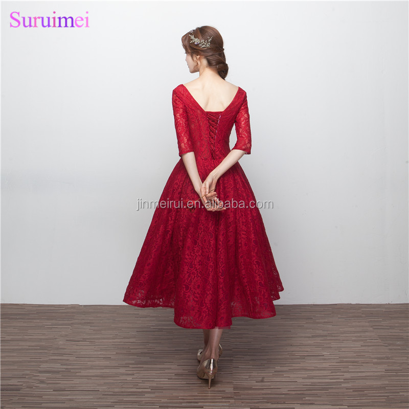 Wine Red Bridesmaid Dresses with Half Sleeves V Neck Corset Lace Up Tea Length Brides Maid Dress Vestidos De