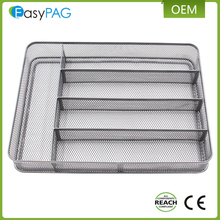 5 Grid metal wire mesh kitchen cutlery tray for tableware utensil organizer
