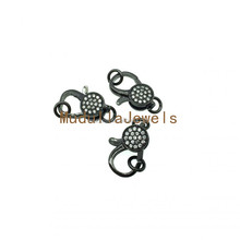 FC5088 Fashion Gun Black Plated Lobster Clasp With Crystal CZ Micro Pave Charms Jewelry Findings