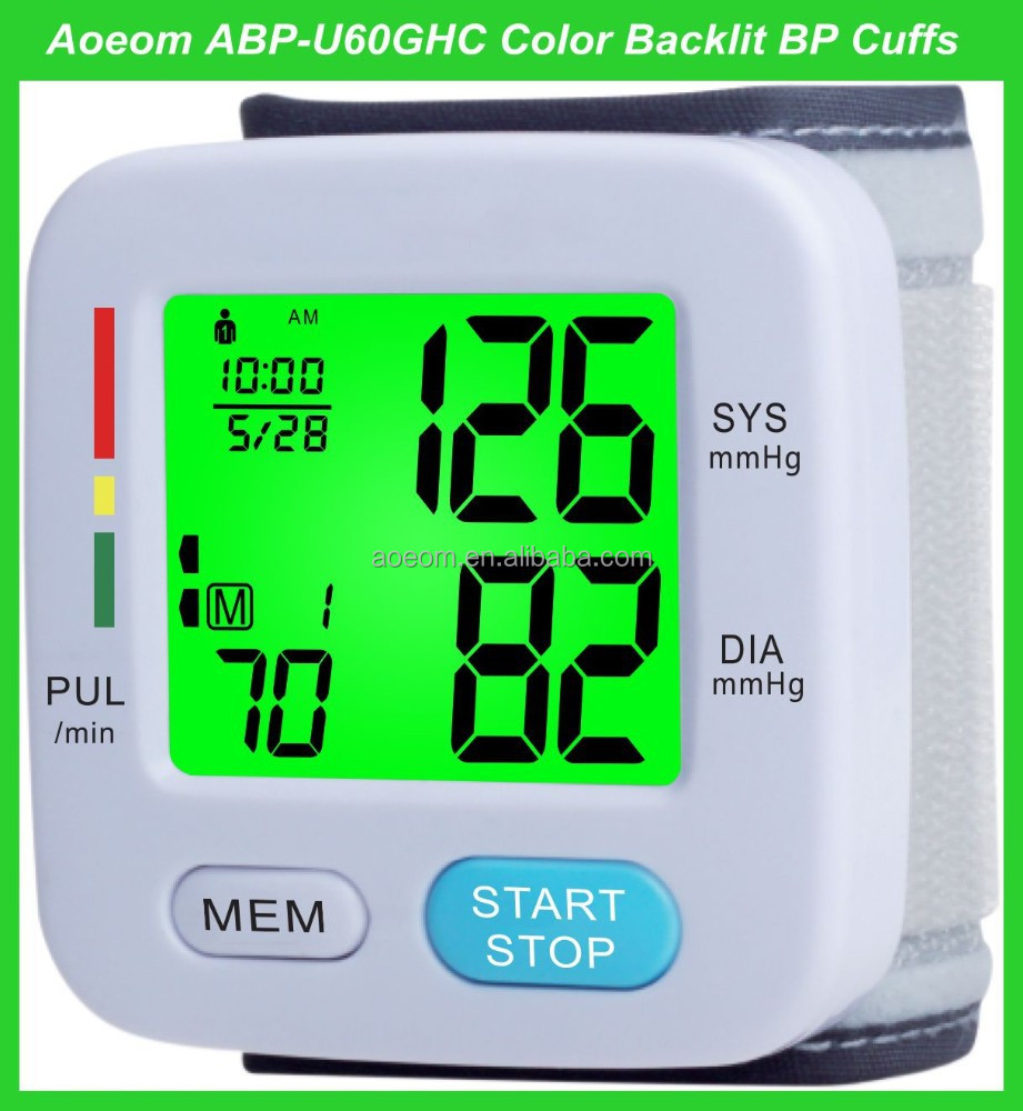medical supply wrist blood pressure monitor with talking backlit functions